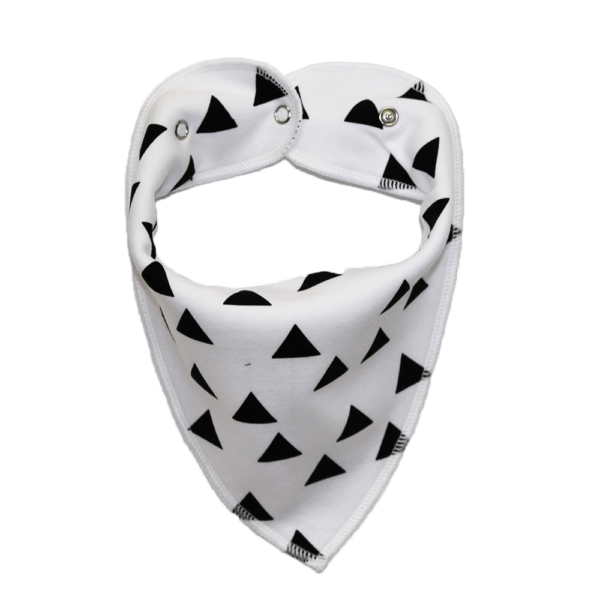 White dog bandana with black triangles