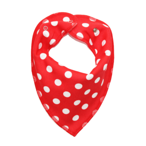 red polka dot dog bandana