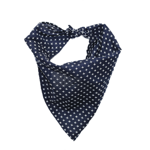 tie on dog bandana navy